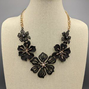 Torrid Statement Necklace with Black Flowers NWT